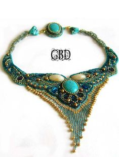 Turquoise and gold bead embroidered collar with fringe - Guzel Bakeeva Designs Bead Embroidery Jewelry, Beaded Embroidery, Beaded Jewelry, Handmade Jewelry, Beaded Necklaces, Jewellery, Maxi Collar, Bead Art, Bead Weaving