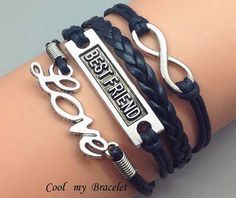 Personalized wax rope leather bracelet infinite by Coolmybracelet, $5.49