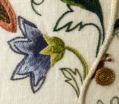 Detail of Crewel Embroidery, use of chain stitch