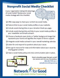Social media checklist for nonprofits; using this to improve @Village Focus International social media platforms