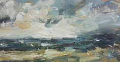 Shortlisted artist: HANNAH IVORY BAKER, Land and Sky Oil on board, 30x60cm. Vote for your favourite artwork in Artists of the Year 2017 at www.artistsandillustrators.co.uk/shortlist2017 #AOTY2017