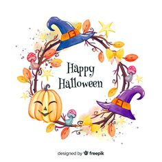 Happy halloween frame background Free Vector Illustration designed by me for freepik. Marcos Halloween, Feliz Halloween, Fröhliches Halloween, Halloween Frames, Halloween Drawings, Halloween Stickers, Halloween Pictures, Holidays Halloween, Halloween Vector