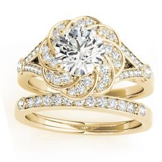 This custom yellow gold bridal ring set setting includes a diamond & aquamarine floral swirl split-shank engagement ring setting (center stone sold seperately) paired with a matching diamond-accented wedding band. Swirl Engagement Rings, Floral Engagement Ring, Engagement Ring Settings, Halo Engagement, Bridal Rings, Bridal Jewelry, Wedding Rings, Gold Wedding, Bridesmaid Jewelry Sets