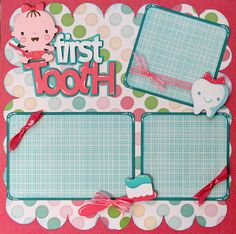 Baby milestone first tooth scrapbook layout boy or girl page Baby Boy Scrapbook, Album Scrapbook, Baby Scrapbook Pages, Papel Scrapbook, Scrapbook Page Layouts, Scrapbook Paper Crafts, Baby Shower Scrapbook, Shower Bebe, Freebies