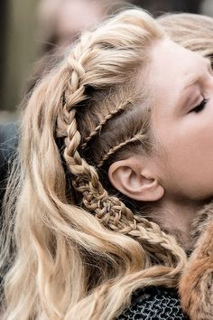 #Braids This braided style is to die for. Actress: Katheryn Winnick as the character Lagertha Lothbrok in Vikings (History Channel); Hair design by Department Head Dee Corcoran #HotOnBeauty www.hotonbeauty.com