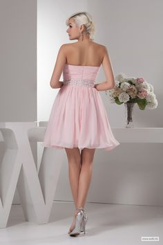 custom bridesmaid dresses Pleated sweetheart A line short chiffon dress with beading $105.98