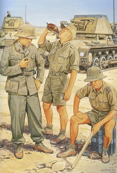 1941 Tripulantes Panzerjäger I Afrika Korps - Ron Volstad, pin by Paolo Marzioli Ww2 Uniforms, German Uniforms, German Soldiers Ww2, German Army, Military Art, Military History, Mg34, Soldier Drawing, Afrika Corps