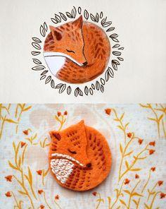 FoxyDuo, red fox sleeping, illustration, felt badge, brooch