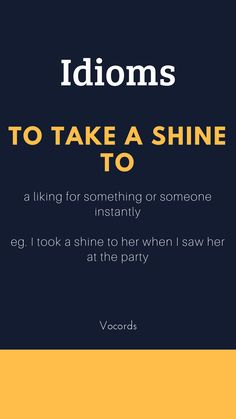 To Take Shine To ~ a liking for something or someone instantly; I took a shine to her when I saw her at the party. Daily English Vocabulary, Learn English Grammar, English Writing Skills, English Idioms, English Phrases, Learn English Words, English Language Learning, English Lessons, Idioms And Phrases