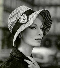 151add40cf3 Dorothy in grey and white houndstooth cloche with a black grosgrain ribbon  by Jean Barthet