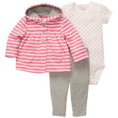 3-Piece Microfleece Cardigan Set | Baby Girl Sets