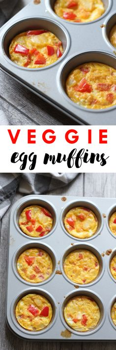 Dairy free, gluten free, & paleo Veggie Egg Muffins // easy to make and perfect to prep ahead of time for grab and go breakfasts all week long // Lean, Clean, & Brie