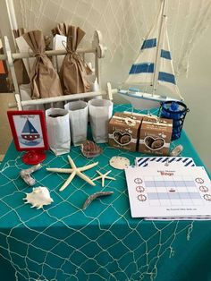 Bingo game at a nautical baby shower party! See more party planning ideas at CatchMyParty.com!