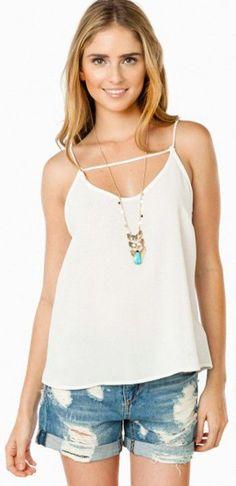 White Tank Top + Cute Necklace + Denim Shorts