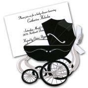 Pram White Baby Shower Invitations | PaperStyle