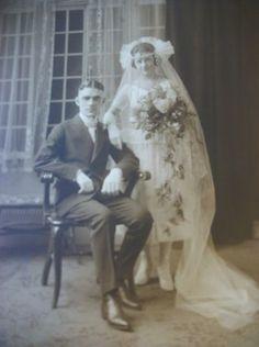 Vintage 20's Wedding Photo Flapper Deco Fashion Bride Groom Lovely | eBay