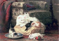 Gato con sus gatitos en un amortiguador Enriqueta Ronner-Knip Colección privada