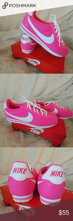 b612070f2 NIKE CORTEZ They are NIB. Hot pink nylon with with swoosh. Has pink leather