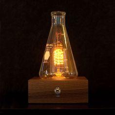 The Laboratory Lamp is a Bulb Inside an Erlenmeyer Flask Lamp Light, Light Bulb, Erlenmeyer Flask, Edison Lamp, Large Lamps, Retro Lamp, Ideas Hogar, Steampunk Lamp, Cool Lamps