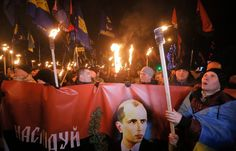 Ukrainian neonazi people Celebrating birthday of the most cruel and primitive nazi war criminal of Europe - stepan bandera the shit