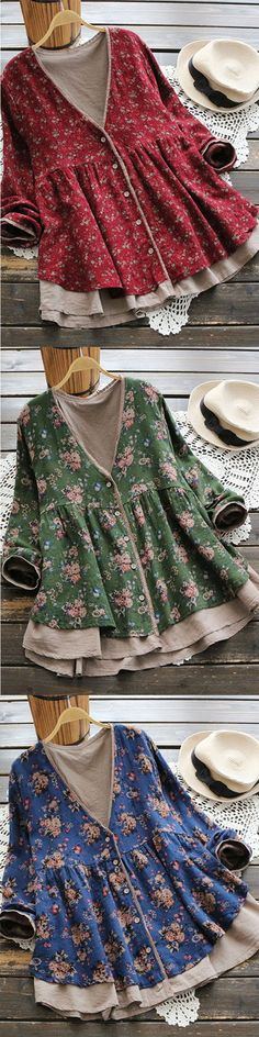 [Newchic Online Shopping] 48%OFF Vintage Floral Fake Two Pieces Women Coats