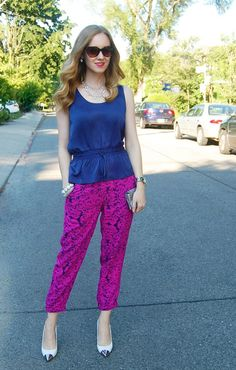 Printed Pant and Toe pointing Heel - DesignerzCentral