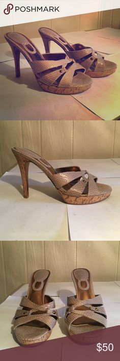Light Gold Snakeskin Heels! Charles David cork heels never been worn their in perfect condition. Cute studs and soft shiny snakeskin design. Perfect with white shorts and pants as well as jeans. Charles David Shoes Heels