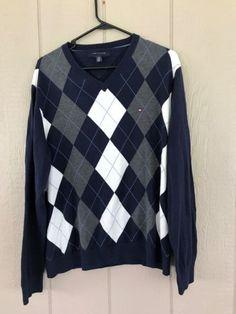 Tommy Hilfiger Mens Sweater Argyle V-Neck Long Sleeve Navy Blue Gray White SZ XL #TommyHilfiger #VNeck