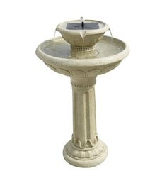 Kensington 2-Tier Solar Bird Bath $370. Creates a relaxing atmosphere in your garden by constantly recycling water, which bubbles out of the solar panel and overflows into the basin below. Built-in solar panel requires only direct sun, no batteries, electricity or cords. Antique white weathered stone finish polyresin. Basin holds 2-1/4 gallons. Protect from freezing. Not for use with heater. Lower level is 4-1/2 inches deep, upper level is 1/2 inch deep. 32 x 23 inches.This fountain includes…