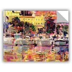 Peter Graham Golden Harbour Vista Removable Wall Art, Size: 20 x 24, Pink