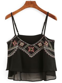 Embroidery Layered Chiffon Cami Top - Black