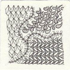Ein Zentangle aus den Mustern Fuzzy String, Monaghan, Pinie, Tads gezeichnet von Ela Rieger, CZT