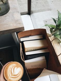 books, coffee, tea