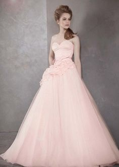 David's Bridal Strapless Ball Gown With Satin Corset Bodice