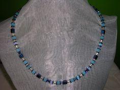Veilchen kompakt blau Würfelperlen mit Hematitscheiben