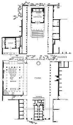 204-ROMAN TOWN PLANNING, Ostia: Plan of the Forum. below the Temple of Rome and Augustus, Ostia. In the first century AD, Tiberius built the town's first Forum. The Forum was remodeled during the reign of Hadrian (117-138 AD). The town was also soon enriched by the construction of a new harbor on the northern mouths of the Tiber. The sea port of Ostia brought more commerce to the city.