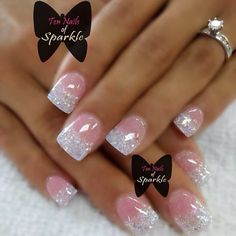 Nail art Christmas - the festive spirit on the nails. Over 70 creative ideas and tutorials - My Nails Fabulous Nails, Gorgeous Nails, Pretty Nails, Bride Nails, Wedding Nails, Fancy Nails, Pink Nails, Pink Sparkle Nails, Bling Nail Art