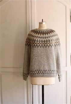vintage nordic sweater - I used to have sweaters like these as a kid, thanks to my Finnish roots, and I just need them back in my life. Icelandic Sweaters, Wool Sweaters, Nordic Sweater, Fair Isle Pattern, Fair Isle Knitting, Pullover, Knitting Designs, Knitting Patterns, Stitch Patterns
