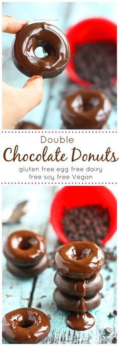 Chocolate Donuts (gluten free egg free dairy free Vegan)- Decadent chocolate drenched donuts that ROCK the food allergy world! @enjoylifefoods