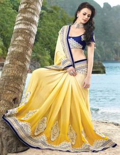 Lovely Lemon Yellow Saree With Blouse