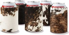 Cowhide Koozies - cute for a western wedding Horseshoe Projects, Wedding Koozies, Western Decor, Western Crafts, Cow Hide, Leather Projects, Leather Tooling, Leather Art, Tooled Leather