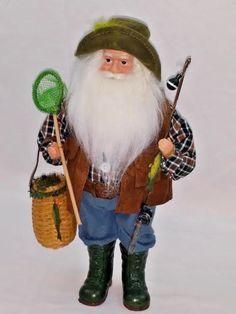 "NEW Fishing Fisherman Santa Claus Christmas Decor Boots Rod Reel Net Basket 16"""