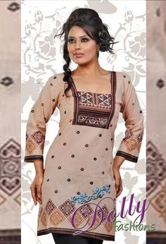 Beige Cambric Cotton Kurti/ Indian Tunic Top