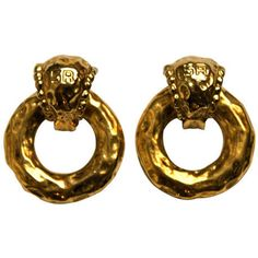 Pre-owned Sonia Rykiel gilt earrings ($125) ❤ liked on Polyvore featuring jewelry, earrings, clip-on earrings, clip back earrings, pre owned jewelry, 80s earrings, clip on earrings and earring jewelry