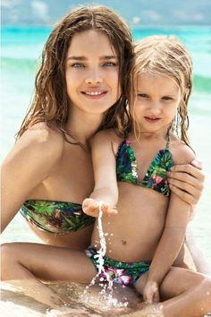 Наталья Водянова с 5 летней дочерью Невой