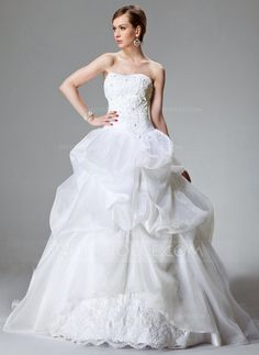 Wedding Dresses - $238.99 - Ball-Gown Sweetheart Chapel Train Organza Satin Wedding Dress With Lace Beading (002000423) http://jjshouse.com/Ball-Gown-Sweetheart-Chapel-Train-Organza-Satin-Wedding-Dress-With-Lace-Beading-002000423-g423?pos=ultimately_buy_1
