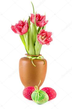 Easter Eggs and spring tulips - Stock Photo , Indesign Magazine Templates, Clay Vase, White Background Photo, Easter Eggs, Tulips, Planter Pots, Bouquet, Bloom, Stock Photos