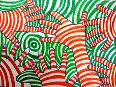 Op art hands using complementary colors