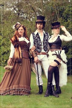 Steampunk costumes for couples. For costume tutorials, fashion inspiration, clothing guide, calendar of Steampunk events & more, visit SteampunkFashionGuide.com