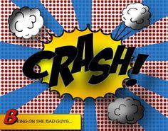 Comic Book Themed Room   11x14 Print of Comic Book Sound Crash Original Design - superhero ...